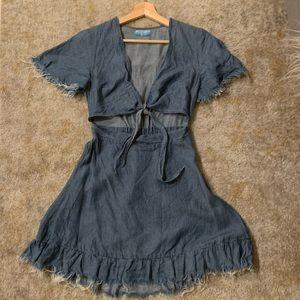 Show Me Your Mumu Denim Keyhole Dress
